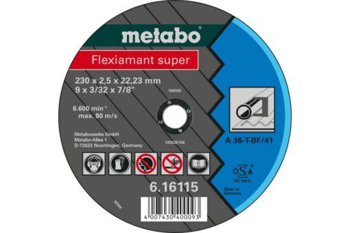 METABO 616270000 CUTTING DISCS STEEL/STAINLESS NOVORAPID 115X1.0X22.23 INOX